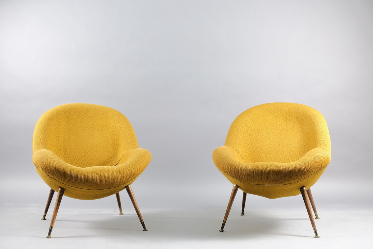 Mid-Century Lounge Chairs by Fritz Neth for Correcta, 1950s, Set of 2