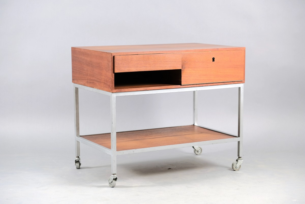 Mid-Century Serving Trolley by Herbert Hirche for Christian Holzäpfel, 1960s