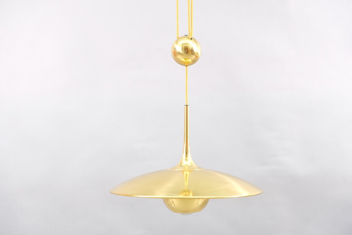 Vintage Brass Ono 35 Ceiling Lamp with Counterweight by Florian Schulz