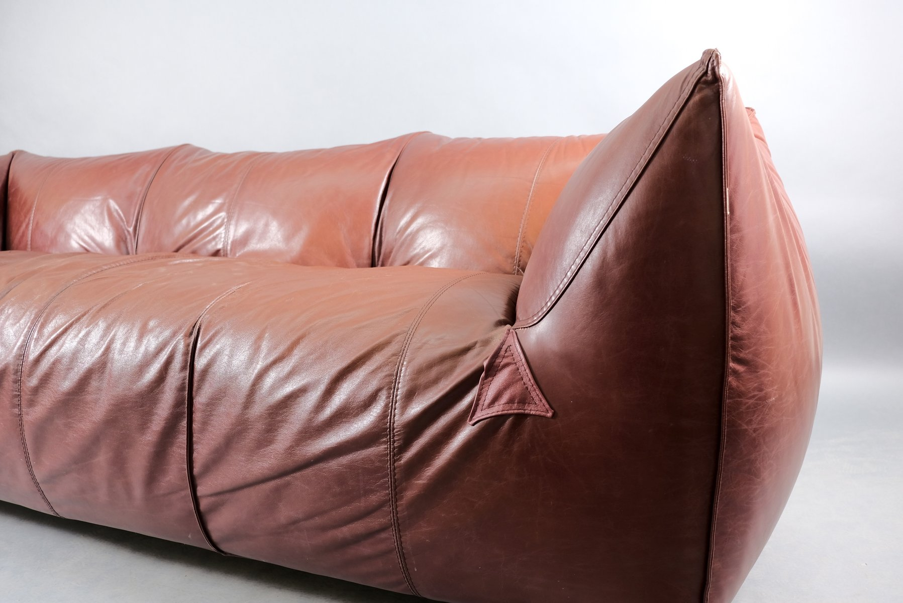 Vintage Leather 3-Seater Model Le Bambole Sofa by Mario Bellini for B&B Italia / C&B Italia
