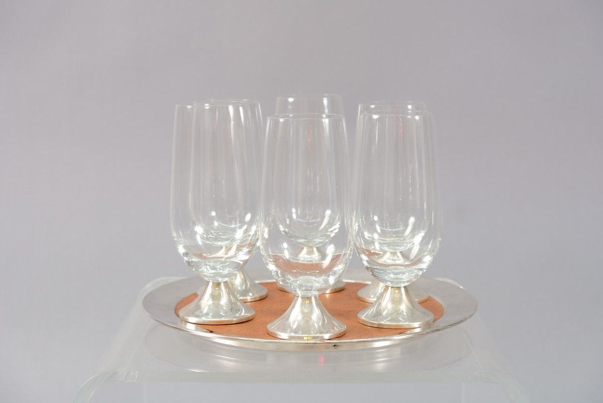 Vintage Model TW 142 Tray by Tapio Wirkkala and Glasses from Rosenthal, Set of 7
