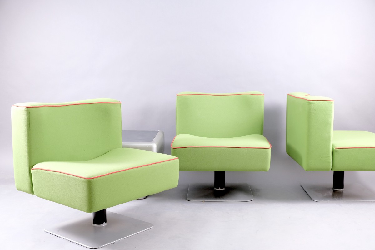 Vintage System 350 Chairs & Side Table by Herbert Hirche for Mauser Werke Waldeck, 1970s, Set of 4