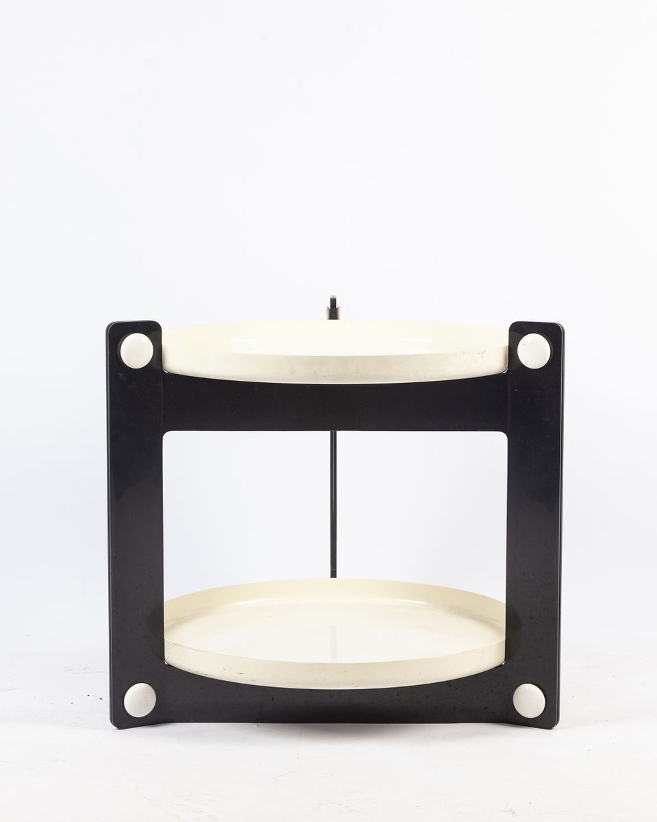 White Plastic Side Table on Casters from Kartell, 1970s