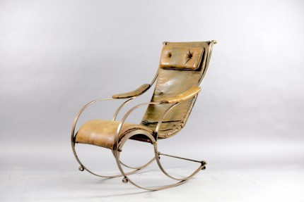 Antique Leather and Metal Rocking Chair by Peter, Cooper for R.W. Winfried