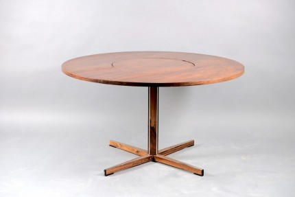 Mid-Century Round Rosewood Dining Table with Rotating Tablet