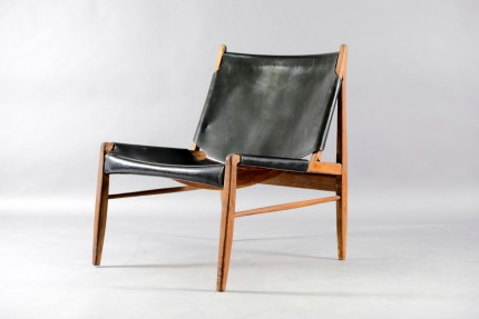 Leather Lounge Chair by Franz Xaver Lutz for WK Möbel, 1958