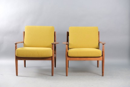 Mid-Century Danish Teak Lounge Chairs by Grete Jalk for Cado, Set of 2