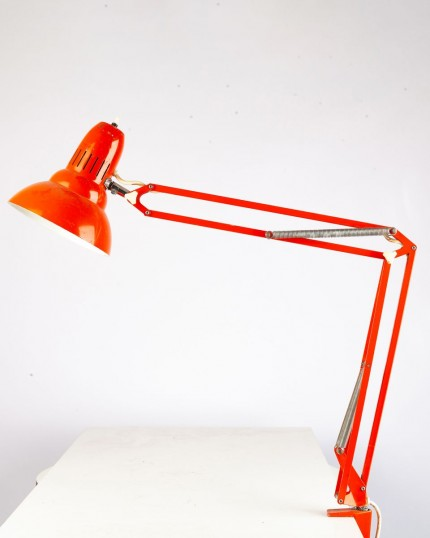 Red Metal Clamp Lamp, 1970s